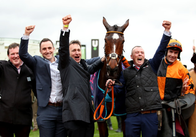 aidan-coleman-henry-de-bromhead-and-members-of-the-one-for-luck-syndicate-celebrate-winning-with-put-the-kettle-on