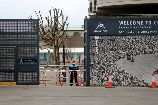 a-view-of-a-security-guard-in-place-at-croke-park-as-the-venue-was-announced-as-a-drive-thru-test-centre-fo-the-ongoing-coronavirus-pandemic