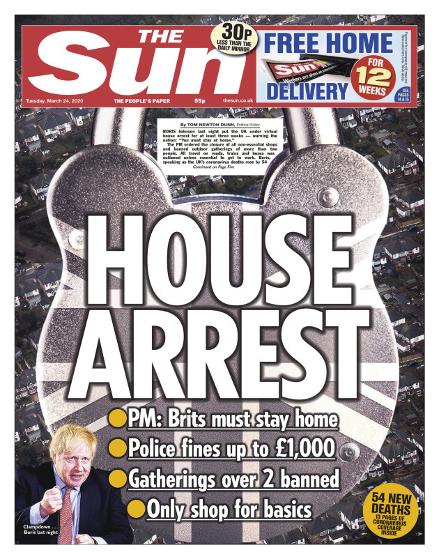 the-sun-front-page-24-03-20-house-arrest-pm-boris-johnson