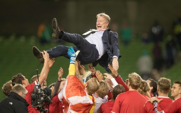 denmark-players-celebrate-winning-with-aage-hareide