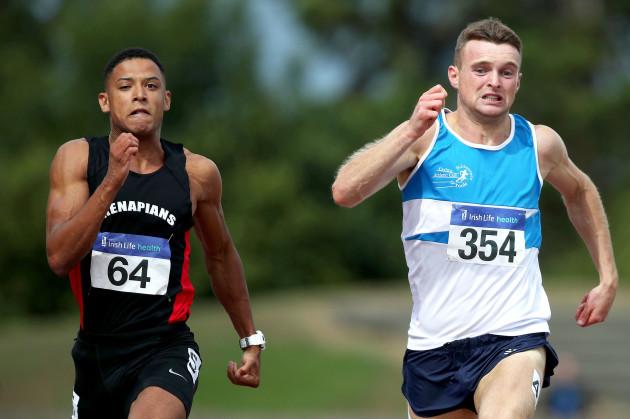 leon-reid-wins-the-mens-100m-ahead-of-marcus-lawler