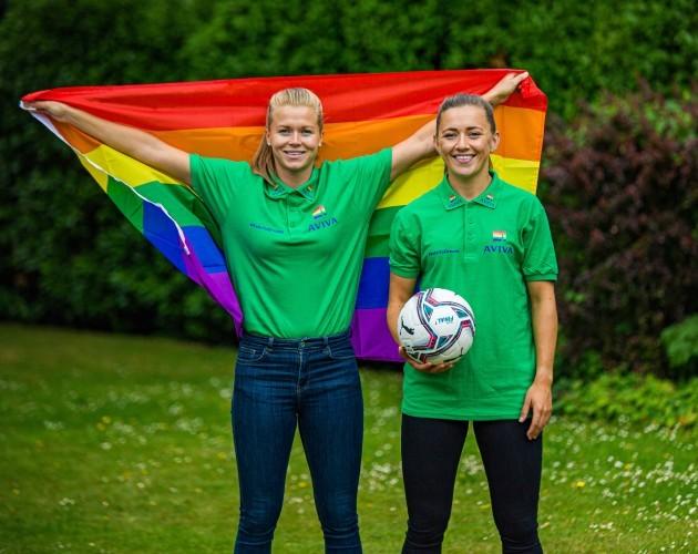Katie McCabe and Ruesha Littlejohn support Aviva Pride