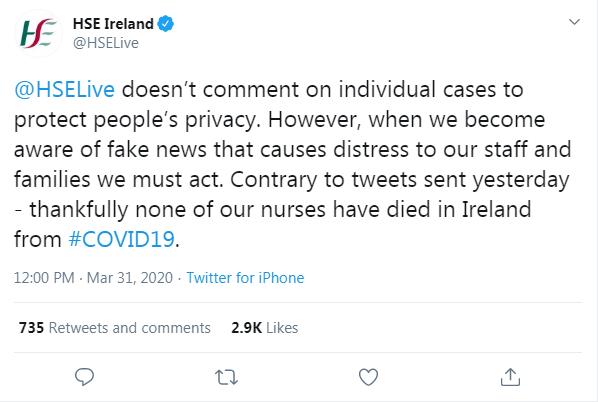 HSE nurses tweet