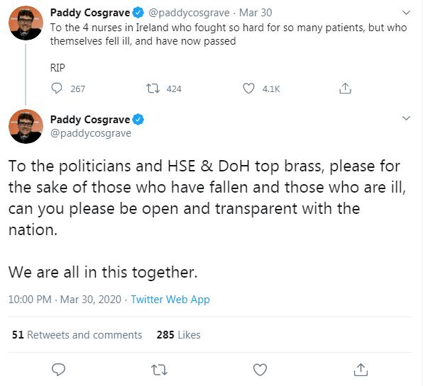 Cosgrave Nurses tweet 2