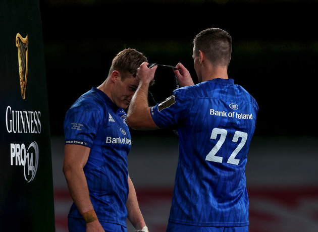 leinsters-captain-garry-ringrose-gets-his-medal-from-johnny-sexton