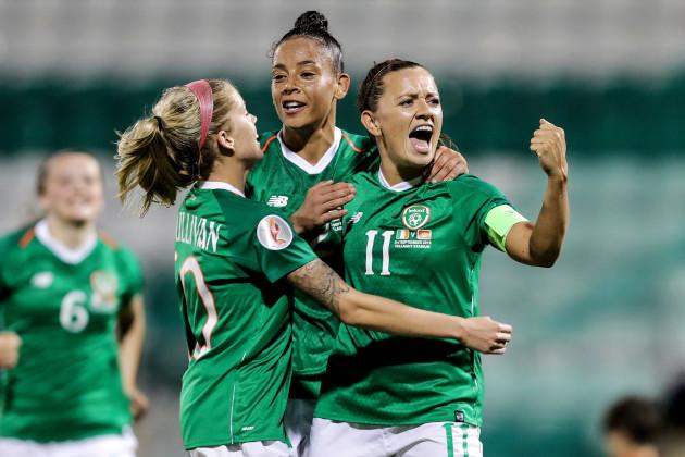 katie-mccabe-celebrates-scoring-a-goal-with-rianna-jarrett-and-denise-osullivan