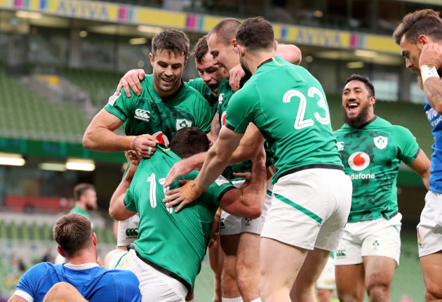 hugo-keenan-celebrates-scoring-his-first-try-on-his-first-international-cap-with-conor-murray-and-jacob-stockdale