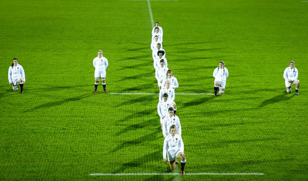 the-england-team-take-a-knee-in-aid-of-the-rugbyagainstracism-movement-before-the-national-anthems