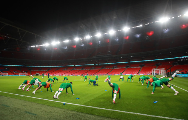 a-view-of-the-ireland-team-during-the-warm-up