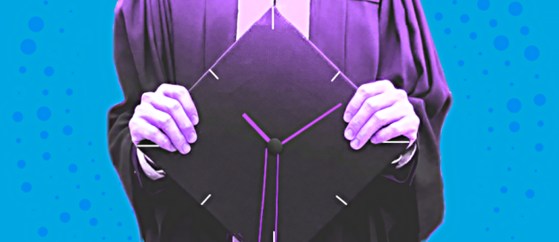 Academic Uncertainty Design which is an academic in a gown holding a graduation-style cap with a clock on it.