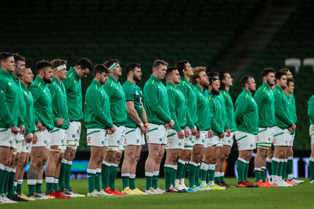 the-ireland-team-stand-for-a-moments-silence-in-aid-of-the-rugbyagainstracism-movement
