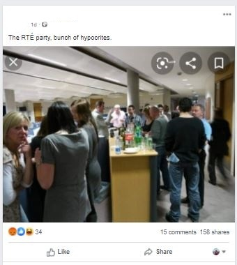 RTE Party claim Facebook post