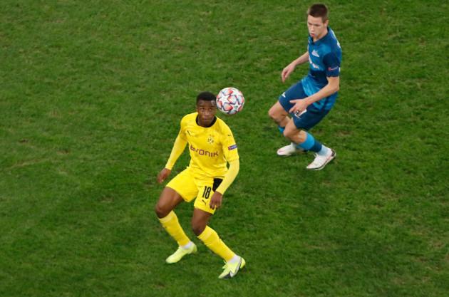 firo-08-12-2020-fuvuball-soccer-champions-league-zenit-st-petersburg-bvb-borussia-dortmund