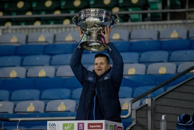 dessie-farrell-lifts-the-sam-maguire-cup-as-dublin-are-all-ireland-champions