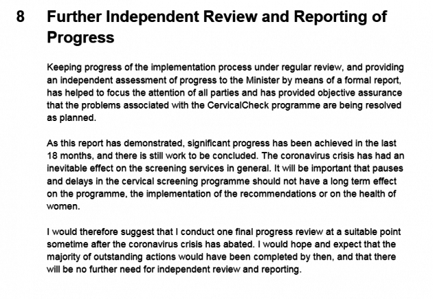 Department of Health Scally report April 2020