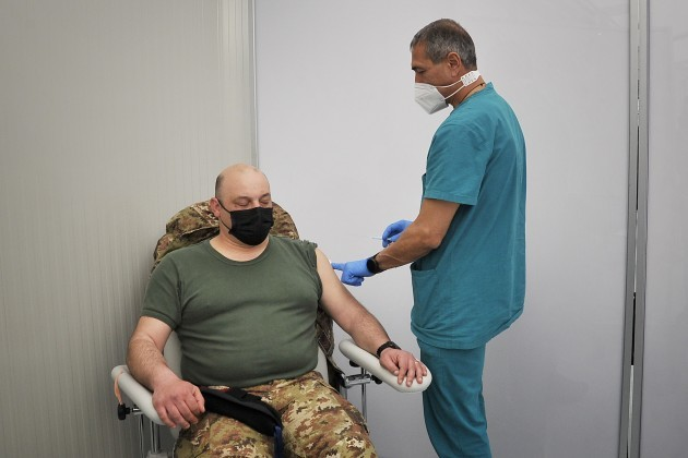 italy-covid-19-vaccinations-for-military-personnel-at-barracks-garibaldi-caserta-brigade