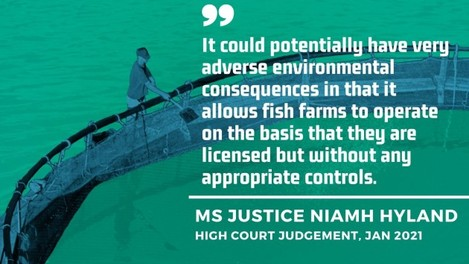 Ms Justice Niamh Hyland - High Court judgement, Jan 2021 - It could potentially have very adverse environmental consequences in that it allows fish farms to operate on the basis that they are licensed but without any appropriate controls.