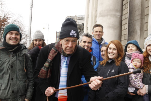 Tony Lowes (c) outside the High Court during the group's recent challenge of State climate plans.