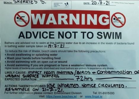 Swimming Advisory Skerries 20-07-21