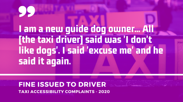 Background - TAXI signs on tops of cars in Dublin. Foreground - Quote from a taxi accessibility complaint from 2020 which resulted in a fine being issued to the driver - I am a new guide dog owner... All the taxi driver said was I don't like dogs. I said excuse me and he said it again.