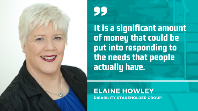 Elaine Howley from the Disability Stakeholder Group - wearing a blue top and black jacket - with the quote - It is a significant amount of money that could be put into responding to the needs that people actually have.