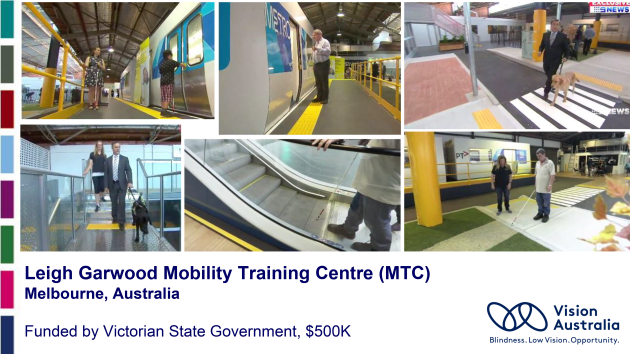 Slide from the NCBI presentation to the NTA in 2018 showing photos from the Australian Centre. The images include people with canes and guide dogs being guided on the use of escalators, pedestrian crossings and trains.