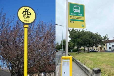 Before and after version of bus stop number 1495 in Dublin, with the older - since removed - bus stop on left having a fully yellow pole and yellow sign, and the bus stop on the right - currently in place - having a grey pole with yellow and green sign on top, and yellow central carousel.