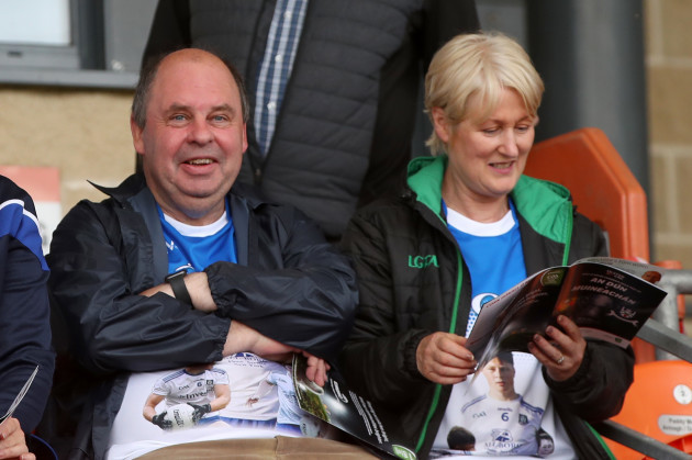 the-parents-of-teenager-brendan-og-o-dufaigh-captain-of-monaghans-under-20s-team-who-died-in-a-car-crash-father-brendan-and-mother-esther-attend-the-game
