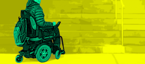 Project design image for the LIFT OUT investigation of a wheelchair user approaching steps, signifying lack of accessibility.