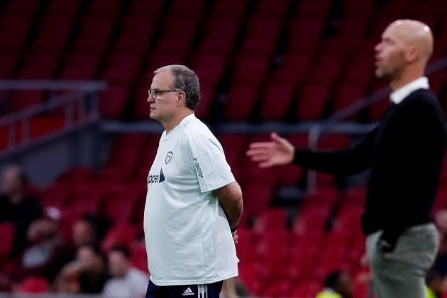 amsterdam-netherlands-august-4-coach-marcelo-bielsa-of-leeds-united-during-the-pre-season-friendly-match-between-ajax-and-leeds-united-at-the-johan-cruijff-arena-on-august-4-2021-in-amsterdam-ne