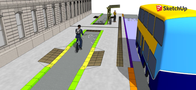 The design shows a bus pulling up to a bus shelter located between the road and cycle lane. This is similar to the previous design in this article, but a raised crossing point has been added beside the bus shelter. The crossing is made out of the same material - grey concrete - as the bus stop and path. There is tactile paving on either side of the crossing point. In the drawing, there is a cyclist approaching the crossing point and a pedestrian waiting for a bus.