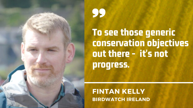 To see those generic conservation objectives out there -  it's not progress - Fintan Kelly, BirdWatch ireland