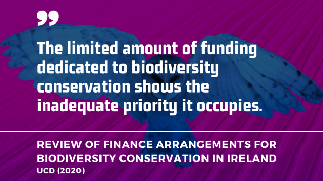 The limited amount of funding dedicated to biodiversity conservation shows the inadequate priority it occupies. - UCD