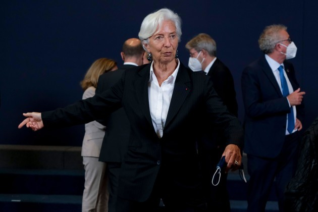 brussels-belgium-12th-july-2021-president-of-european-central-bank-ecb-christine-lagarde-during-a-family-picture-at-the-end-of-a-meeting-of-eurogroup-finance-ministers-at-the-european-council-i