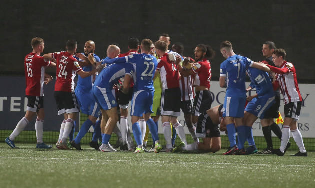 tempers-flare-between-the-teams-following-derrys-equalising-goal