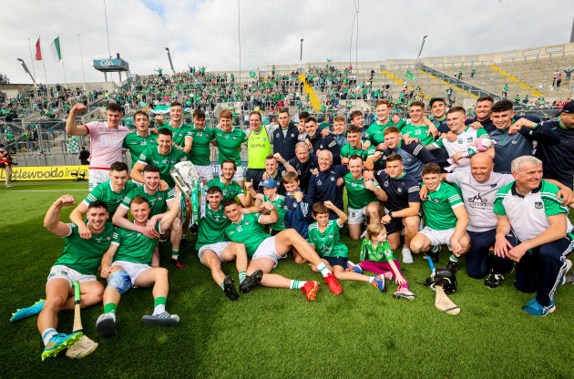 the-limerick-staff-and-squad-celebrate-in-front-of-hill-16-with-the-liam-maccarthy-cup