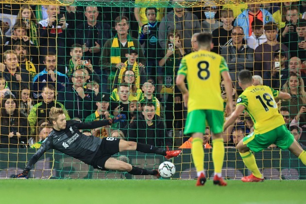 norwich-uk-21st-sep-2021-caoimhin-kelleher-62-of-liverpool-saves-christos-tzolis-18-of-norwich-citys-penalty-in-norwich-united-kingdom-on-9212021-photo-by-mark-cosgrovenews-imagessipa-us
