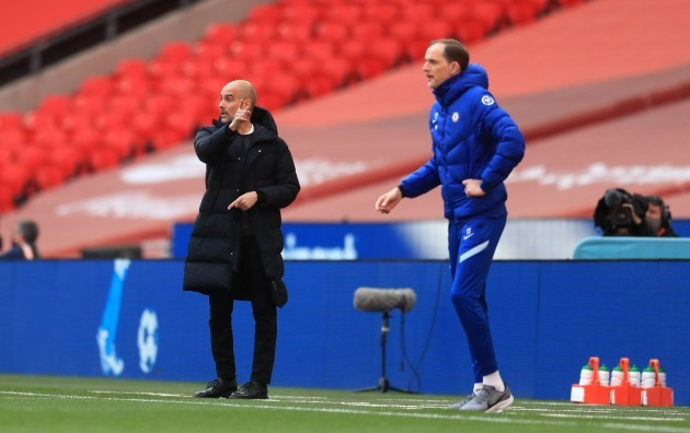 manchester-city-manager-pep-guardiola-left-and-chelsea-manager-thomas-tuchel-right-on-the-touchline-during-the-fa-cup-semi-final-match-at-wembley-stadium-london-picture-date-saturday-april-17