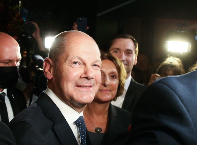berlin-germany-26th-sep-2021-olaf-scholz-finance-minister-and-spd-candidate-for-chancellor-stands-with-his-wife-britta-ernst-after-the-election-party-at-willy-brandt-house-on-sunday-evening-af