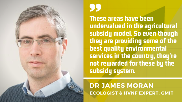 Dr James Moran - ecologist and HVNF expert from GMIT, pictured wearing a shirt and jumper, says: Farmland with high nature value are not rewarded by the current farming subsidy system.