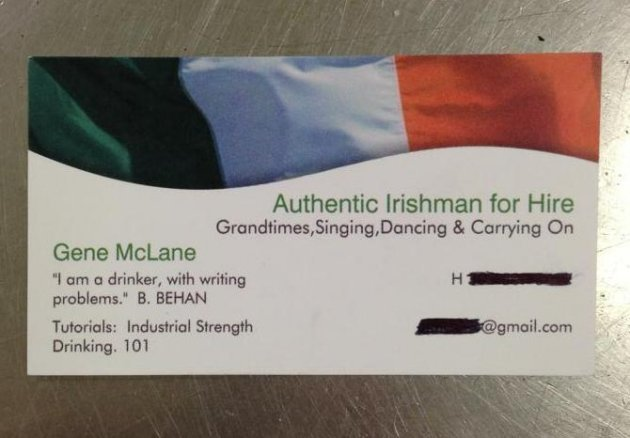 Authentic Irishman for hire has the best business card you