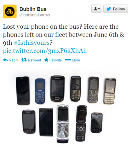 Dublin Bus are now tweeting pictures of lost phones · The